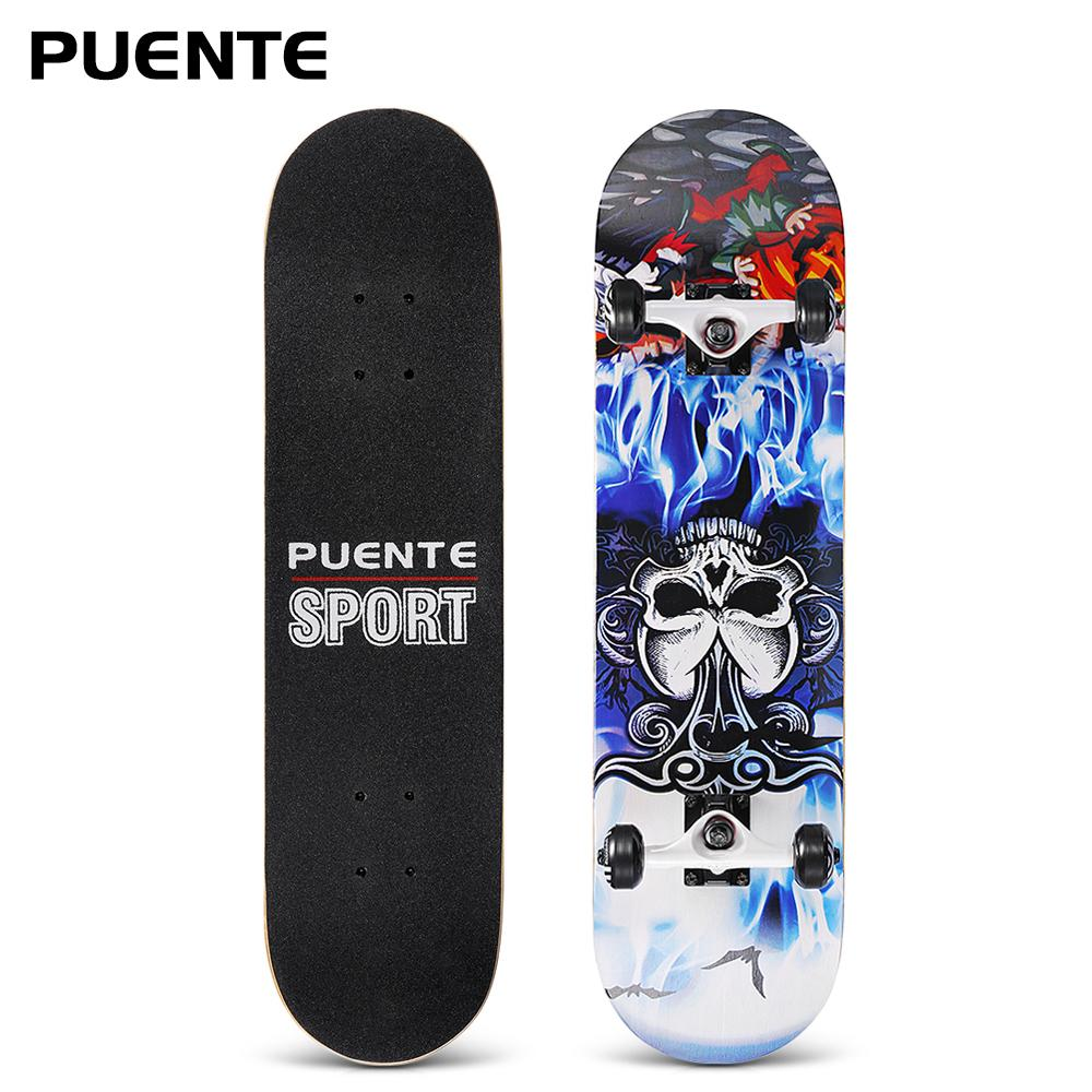 PUENTE Skateboard 31-Inch 7-Layer Maple Wood Deck With T-Shape Tool Double Rocker Skateboards For Kids Adults Beginners