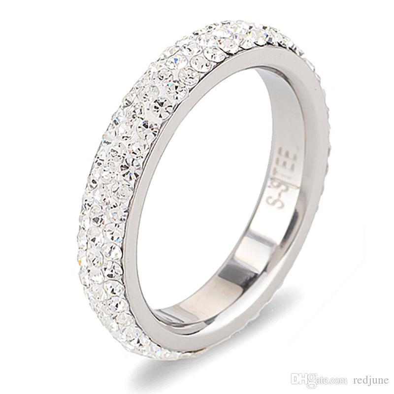 fa20a1cbc570 Joyería de moda de los anillos de bodas del acero inoxidable del cristal  transparente del tamaño completo tres filas Hecho con los cristales ...