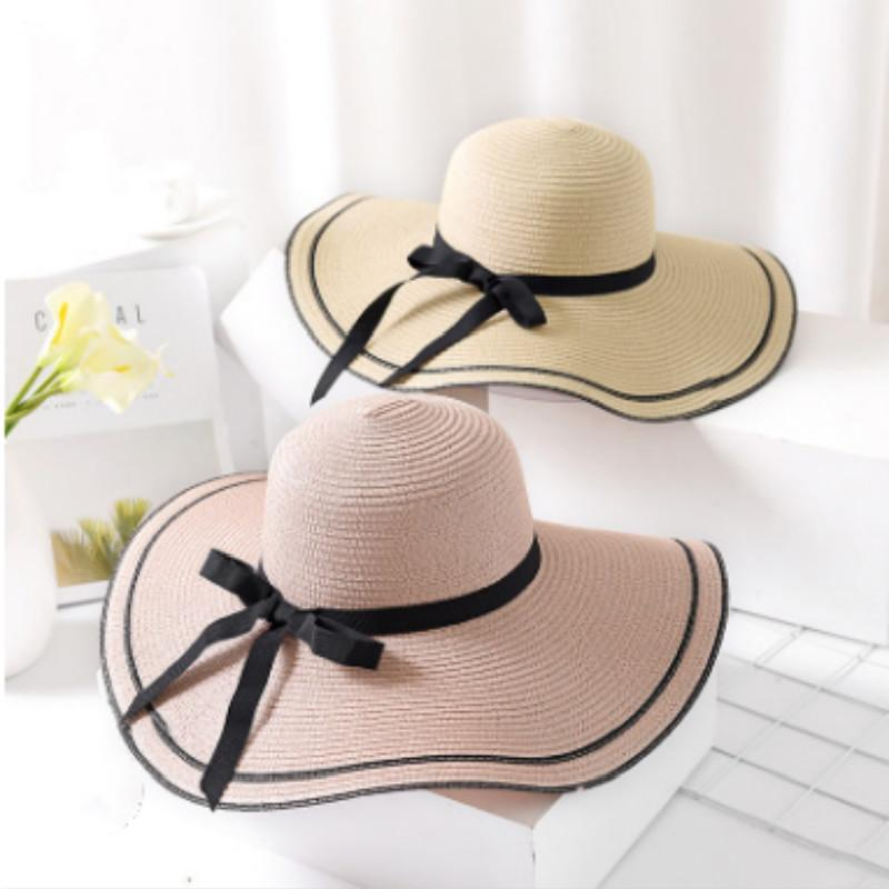 6f2eaf23b89 Foldable Large Brim Sunhats Women Outdoor Sunscreen Sun Hats For Women  Summer Large Straw Hat Big Brim Lady Beach Vacation Cap Ladies Hats Floppy  Hats From ...