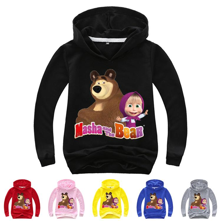 masha and the bear Printed Kids Hoodies Spring Autumn 2-14t Girls Boys Cartoon Pullover Hoodies Sweatshirts kids designer clothes DHL SS221
