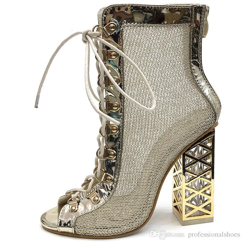 d22d9169c36a Aneikeh 2019 New Summer Sandal Sexy Golden Bling Gladiator Sandals Women Pumps  Shoes Lace Up High Heels Sandals Boots Gold Leather Sandals Wedding Sandals  ...