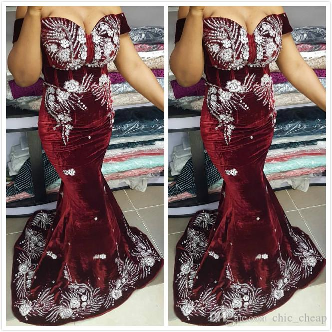 Aso Ebi 2019 Arabic Burgundy Sexy Mermaid Evening Dresses Lace Beaded Velvet Prom Dresses Cheap Formal Party Second Reception Gowns ZJ267