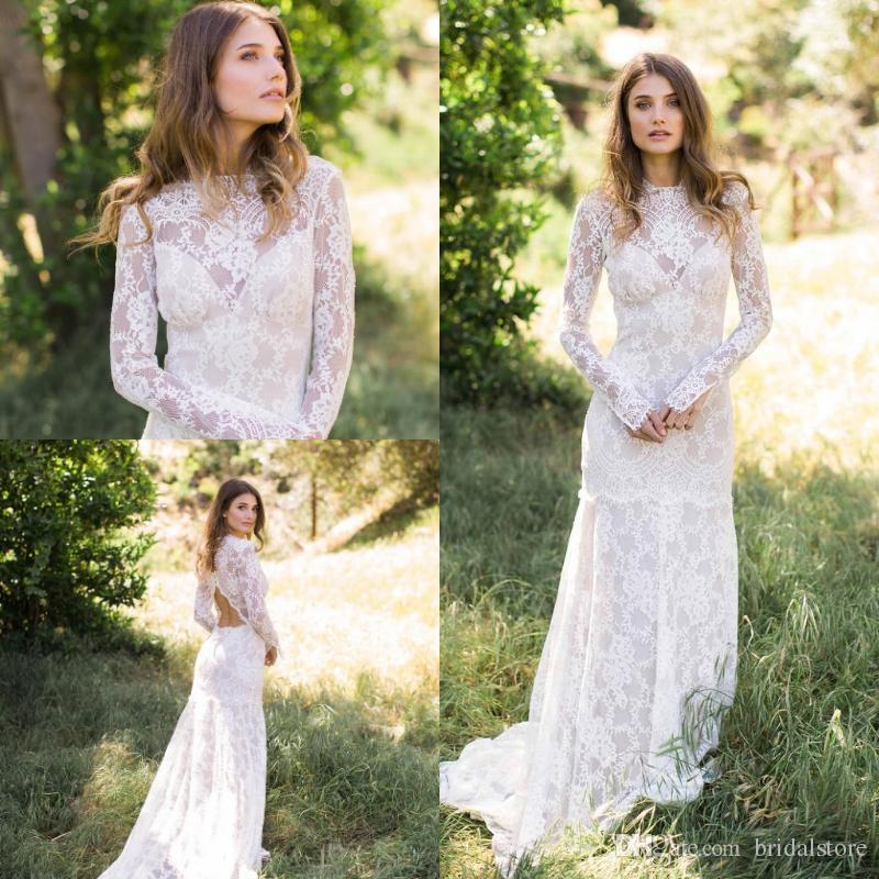 233bc09d03bc ... Lace Country Wedding Dresses Sheath Jewel Neckline Illusion Long  Sleeves Mermaid Open Back Bohemian Garden Bridal Gown Plus Size Wedding  Dress Vintage ...