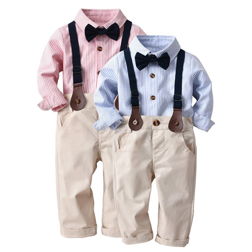 Compre Boa Qualidade Roupas De Bebê Para Meninos Roupas De Inverno Set  Cavalheiro Listrado Bowtie Camisa De Manga Longa + Total De Conjuntos De  Calças ... b54c01a7df9