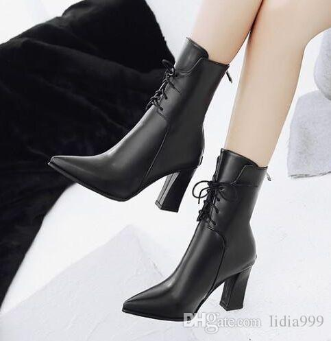 New Arrival Hot Sale Specials Super Fashion Influx Warm Sexy Martin Lace Up Large Size Patent Pointed Toe Popular Heels Ankle Boots EU32-47