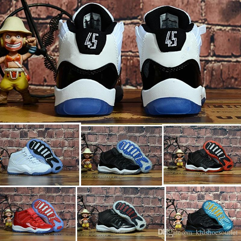11S Concord 45 2018 Baby Little Big Kids Basketball Shoes Bred Gamma Blue  Legend Blue Youth Boys Girls Outdoor Athletic Sneakers Boys White Tennis  Shoes ... cbcb080ede38