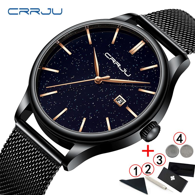 amplia selección de colores y diseños super barato se compara con reloj Crrju Men Watch Top Business Date Starry Sky Mens Watches Stainless Steel  Man Wrist Watches reloj hombre 2019