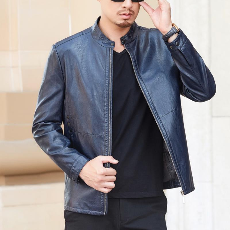 0cd73b5a759 2019 2019 New Fashion Mens Leather Jackets Short Stand Collar Slim Leather  Jacket Men Business Casual Brand Clothing Plus Size M 4XL From Hiem