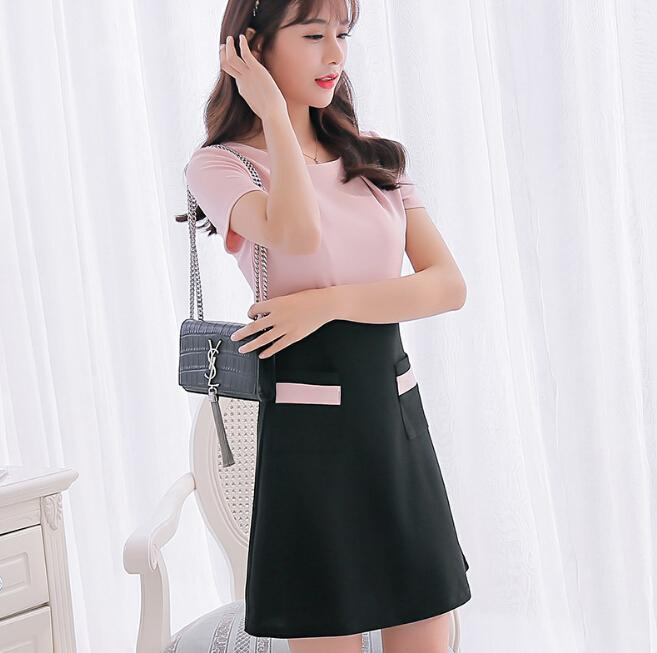 5030f502c735 Summer Dress Women Clothing Bodycon Dress Korean Cute Slim Patchwork Short  Sleeve Dress Fashion Pink Girl Vestidos Holiday Dresses Backless Dress From  ...