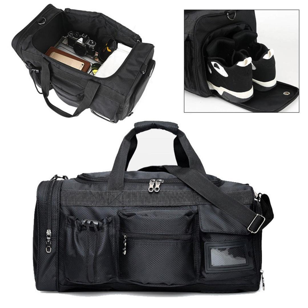 Black Men Women Luggage Travel Duffle Bags Training Gym Bag Canvas  Multifunction Handbag Female Totes Large Capacity Weekend Bag Duffle Bags  For Men ... 3a12d5080dcce