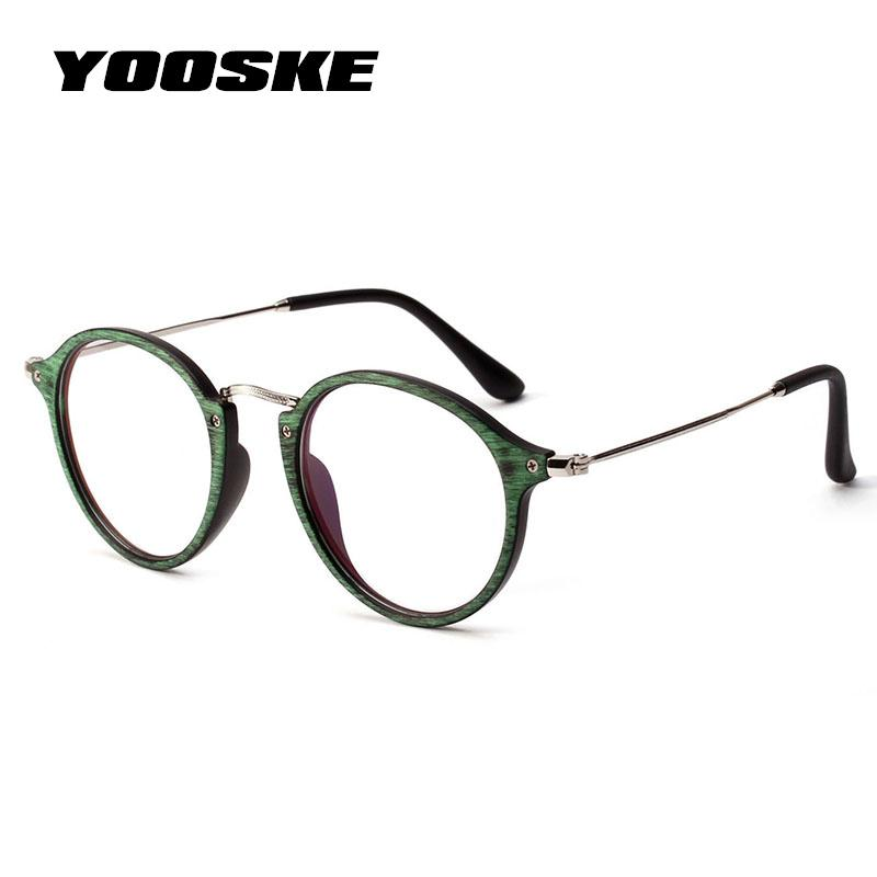 54ee5b45a4e 2019 YOOSKE Round Eyeglasses Frame Women Vintage Brand Vintage Wood Grain Glasses  Female Classic Clear Lens Optical Spectacle Frames From Value222