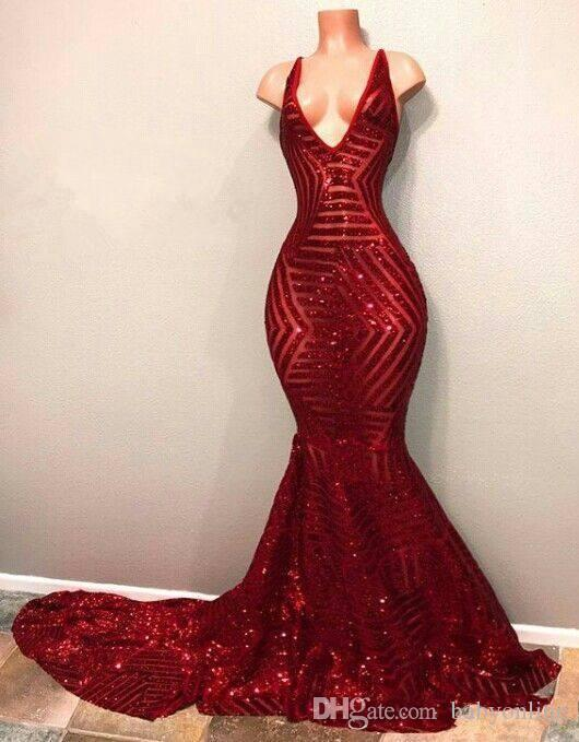 Red Blingbling Sequins Prom Dresses 2019 Sleeveless Mermaid Plunging V Neck Black Girl Prom Dresses Evening Party Gowns BA7779