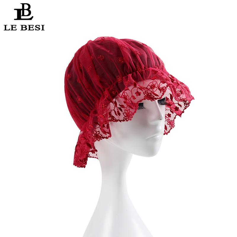LE BESI 2017 New Women Swimming Cap Waterproof PU Elastic Swim Lace Cap Pleated knot Beach Long Hair Swimming Hat