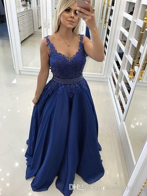 0b80be0e Vestidos de baile baratos 2019 Grano de encaje de gasa Vestidos largos de  noche Cóctel Fiesta de baile Vestido de dama de honor Ocasión especial ...