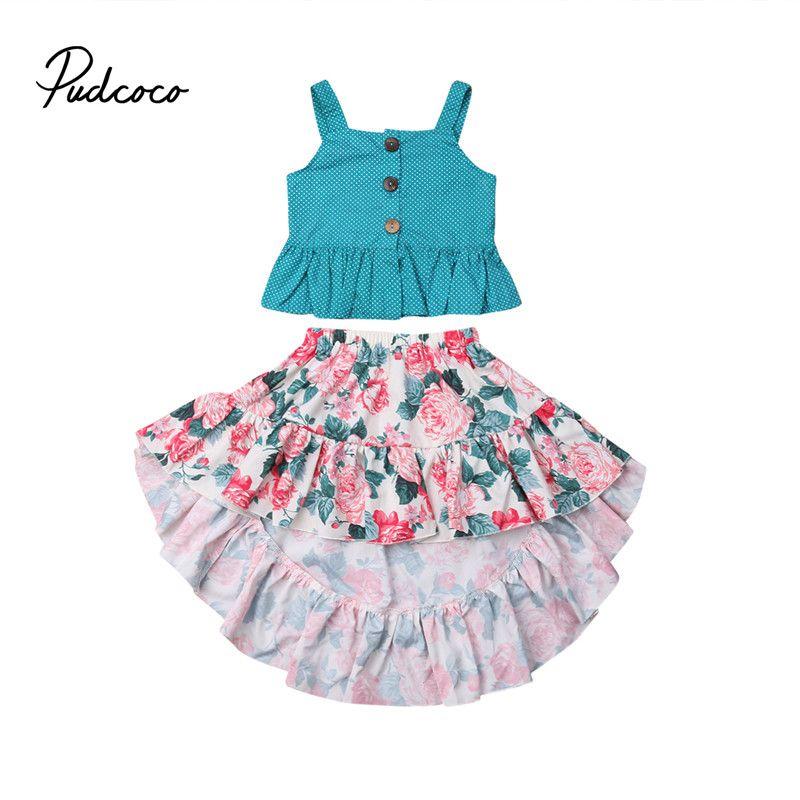 fdde3d490 2-7T 2019 Nuevo Verano de Los Niños Princesa Moda Correas Lindas Chaleco  Vestido de Algodón Recién Nacido Infantil Bebé Niñas Floral Tutu Falda ...