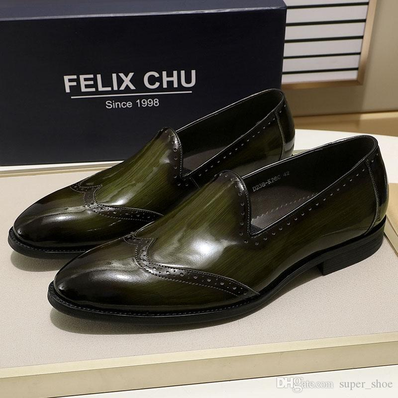 a55059c80a9 Compre FELIX CHU Charol Hombres Mocasines Zapatos De Lujo Negro ...