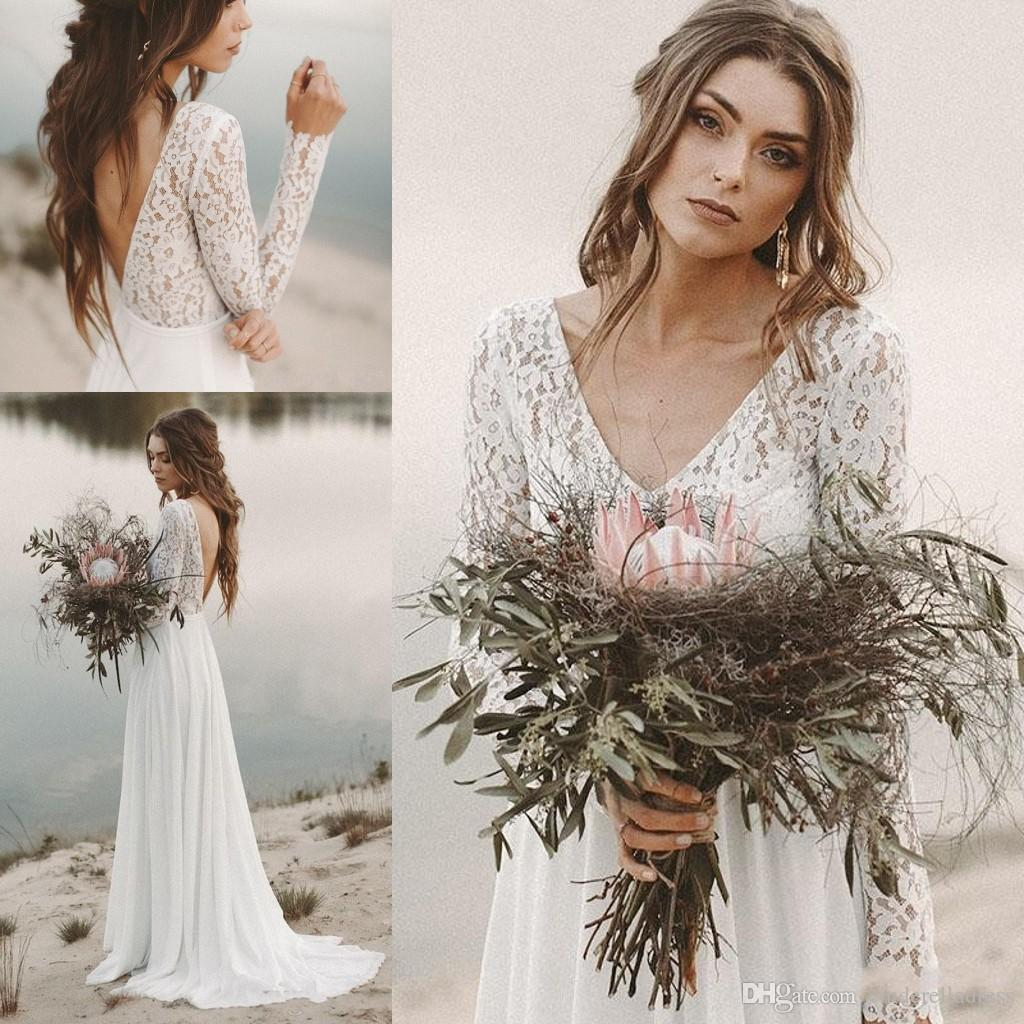 7876c6531087 Discount Cheap Beach Country Wedding Dresses 2019 A Line Chiffon Lace Top V  Neck V Back With Long Sleeves Draped Backless Bridal Gown Illusion BC0770  ...