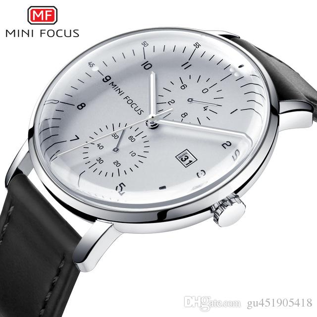 43430f1a4a4 MINI FOCUS Mens Watches Top Brand Luxury Quartz Watch Men Calendar  Bussiness Leather Relogio Masculino Waterproof Reloj Hombre Calendar Sports  Watches ...
