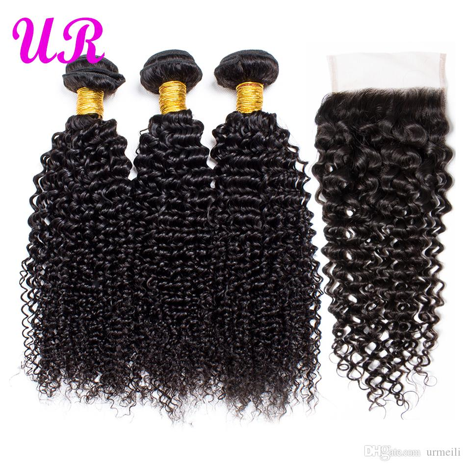 raw indian hair Kinky Curly human hair bundles with closure raw virgin indian hair weave Kinky Curly 3 Bundles With Lace Closures DHgate
