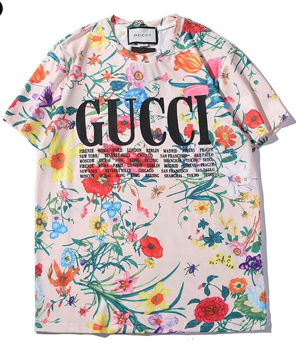 6f1d4f6d 2019 New Tee Gc Cotton Whole Body Flowers Letter Logo Print Short Sleeve  O-neck T-shirt Men And Women T Shirt Wear Casual Tee S-XXL T Shirt Tee  Online with ...