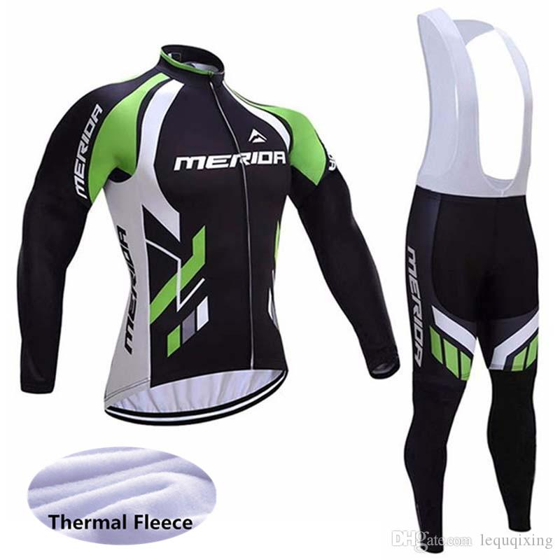 Winter MERIDA Cycling Winter Thermal Fleece jersey gentle bib pants sets / Slim fit Keep warm Breathable hight quality 61018
