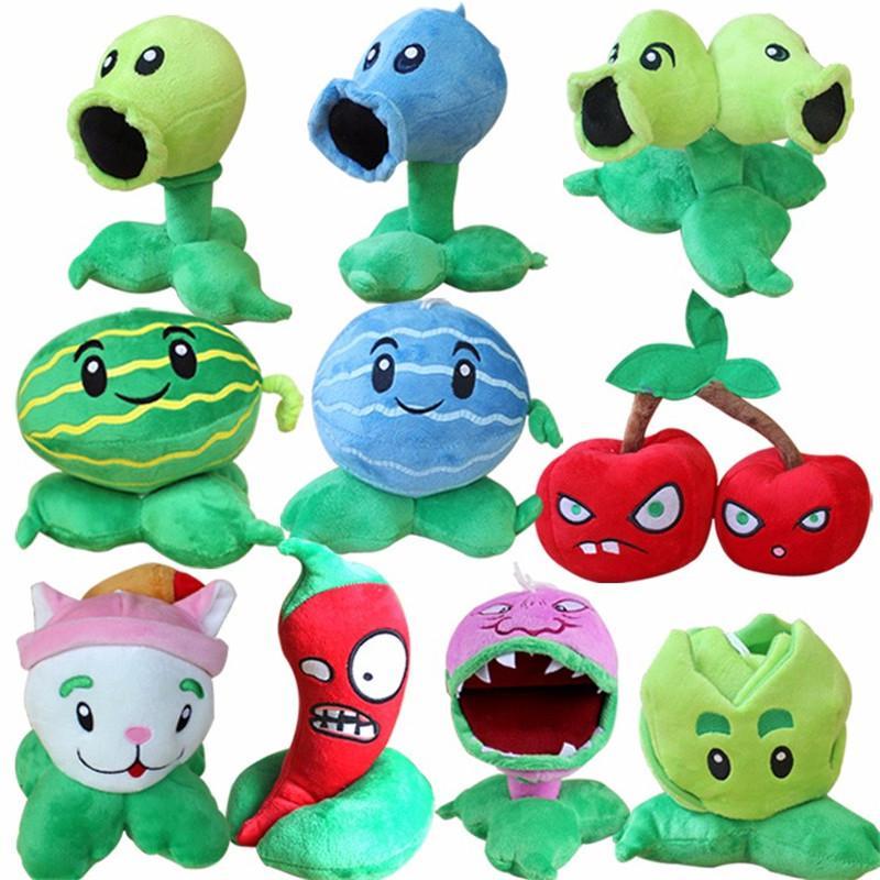 10pcs/lot 13-20cm Plant vs Zombie Plants Plush Toy PVZ Peashooter  Watermelon Chomper Cattail Soft Stuffed Toy