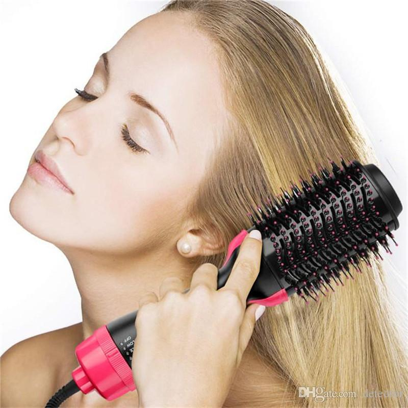Hot Air Brush, Two-in-one Hair Dryer & Styler & Volumizer Multi-functional Straightening & Curly Hair Brush with Negative Ions
