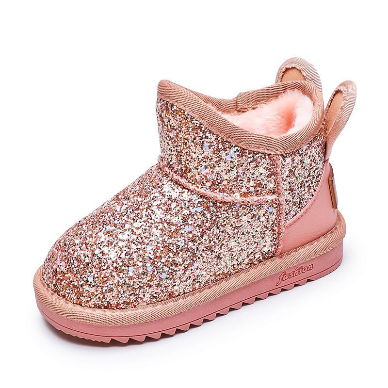 New 2019 Winter Children Snow Boots Baby Girls Boots Sequins Leather Cotton Shoes Kids Warm Plush Winter Shoes For Girls