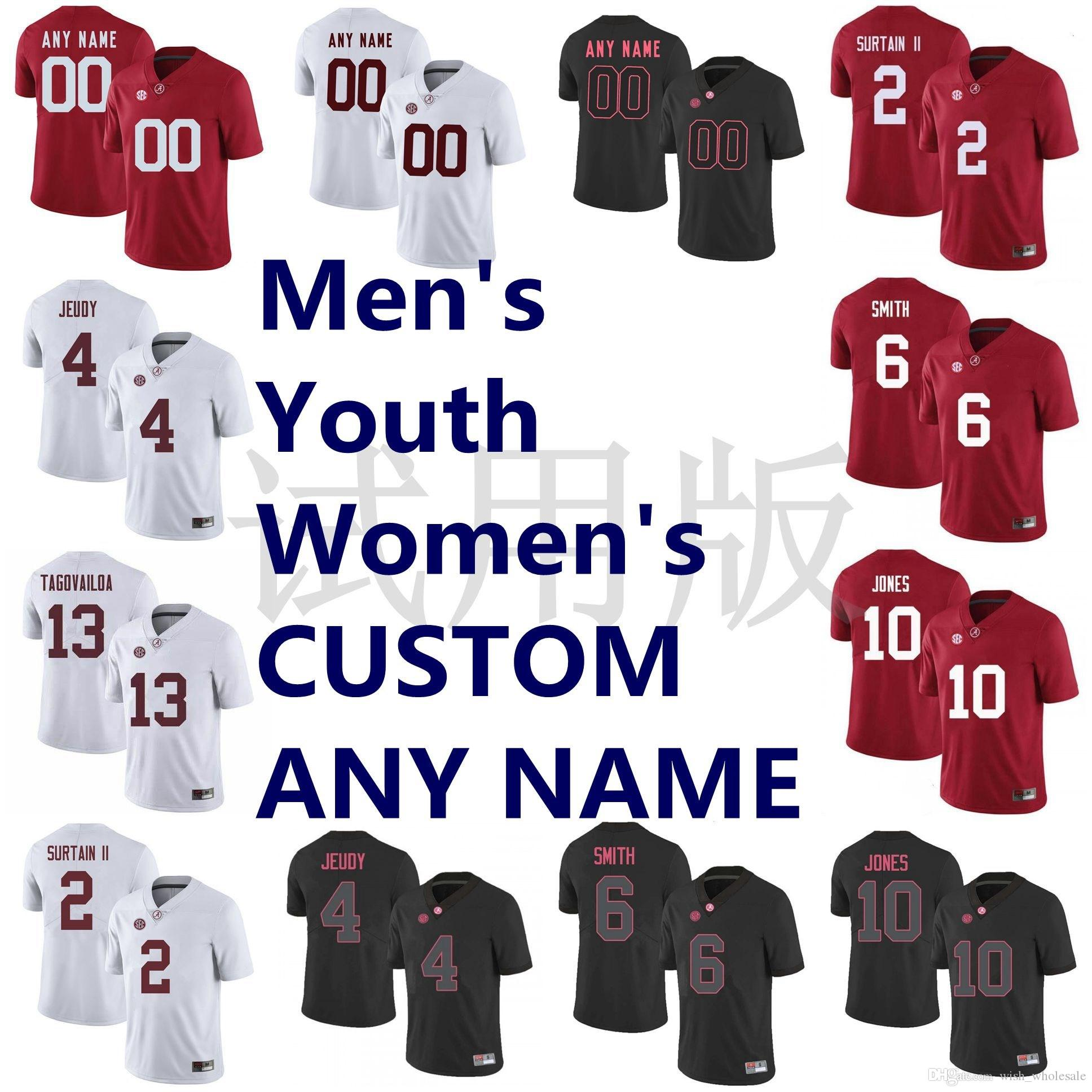 NCAA Alabama Crimson Tide jerseys Patrick Surtain II Jersey Jeudy Tagovailoa Devonta Smith Mac Jones balompié Jersey cosido personalizada