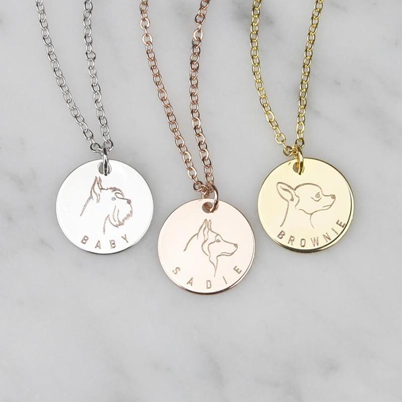 Qualité supérieure d42a1 c49d1 Portrait de chien pendentif personnalisé nom collier femmes cadeau pour  animaux de compagnie en acier inoxydable pendentif Memorial Fashion bijoux  ...