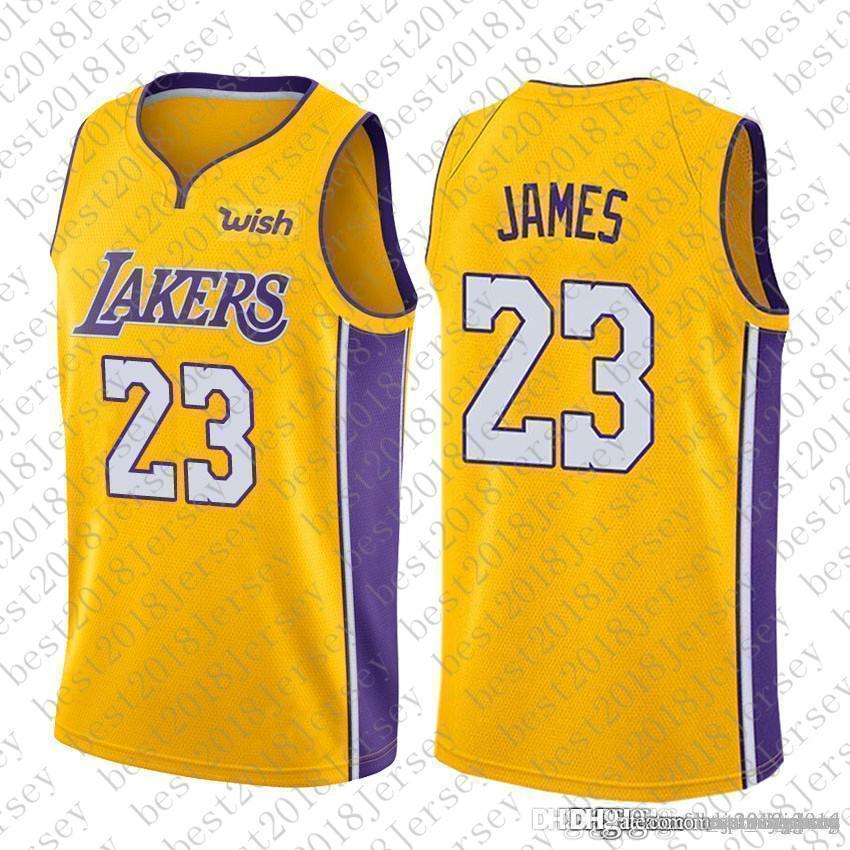 half off 371f8 8b1e6 Gold Yellow Top quality 2018 New Los Angeles Jersey Laker LeBron 23 James  Lakers Basketball Jerseys The City Whish