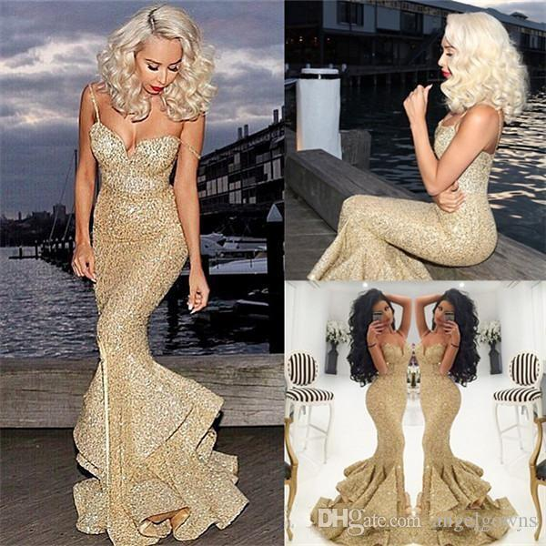 Sparkly Gold Sequins Mermaid Prom Dresses New 2019 Spaghetti Straps Front Slit Ruffles Long Girls Evening Party Gowns Arabic Pageant Dress