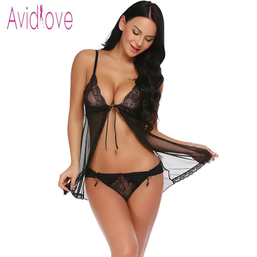 Avidlove Sexy Lingerie Women Sex Underwear Costumes Babydoll Sheer Babydoll  Set Open Front Nightwear Thong Lenceria Erotica D18120802 Womens Sexy  Nighties ...