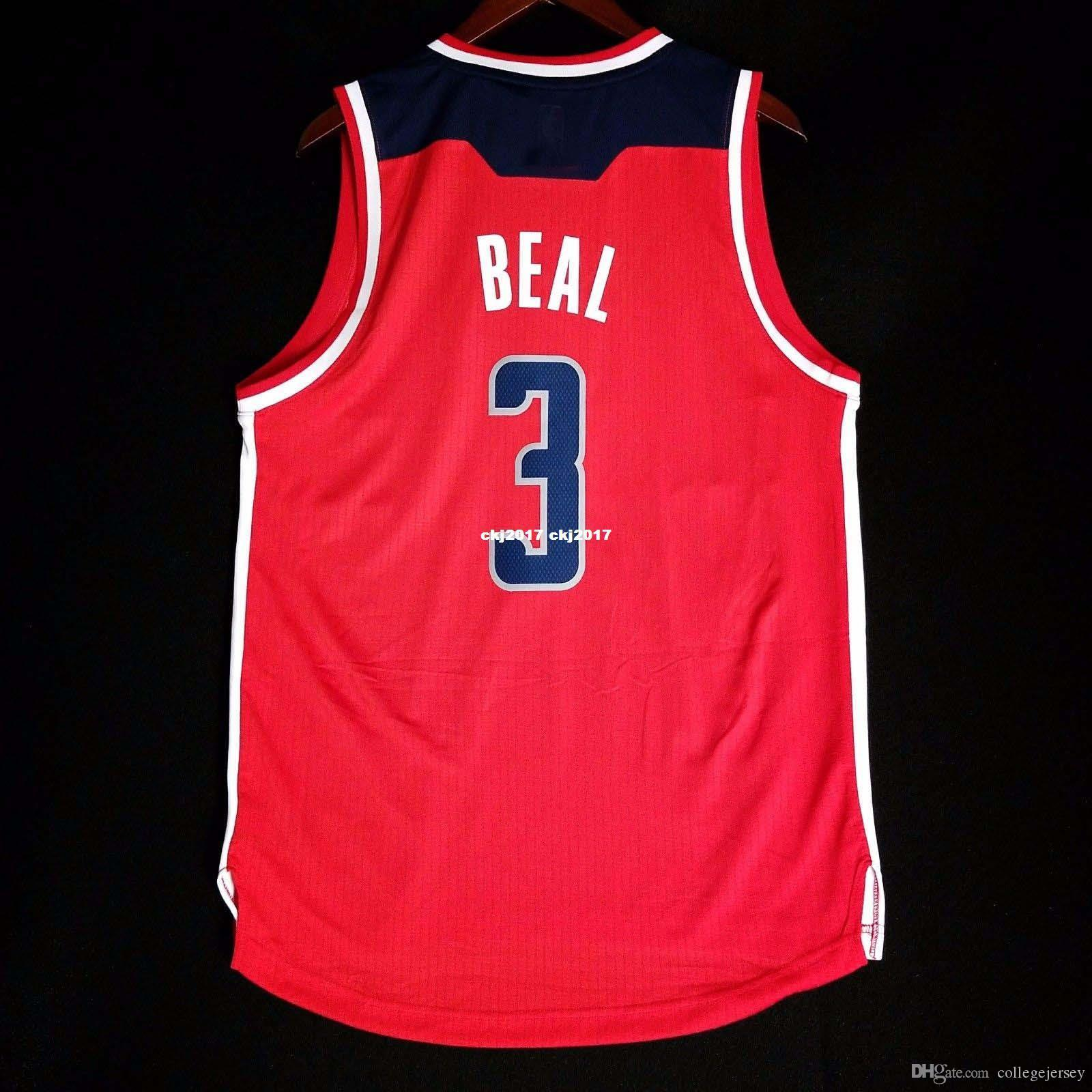 100% cousu Bradley Beal cousu maillot Jersey mur rouge john Mens Vest Taille XS-6XL maillots de basket-ball cousu