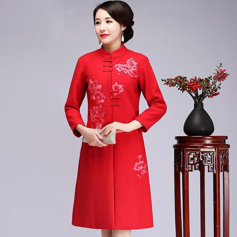 d4d084886fcf Woolen Thicken Warm Women Jacket RED Chinese Style Wedding Party Coat Big  Size Autumn Winter Warm Outwear Embroidery Overcoat Suede Jacket  Windbreaker ...