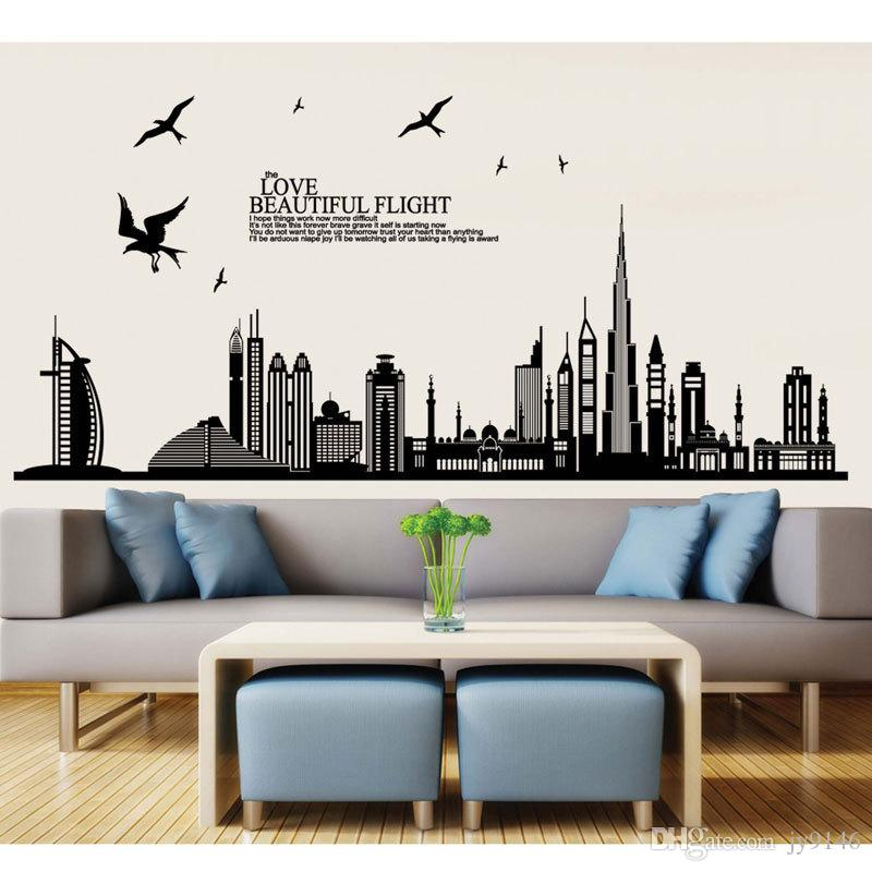 black dubai city buildings wall sticker vinyl self adhesive skyline