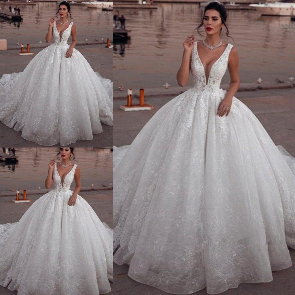 Discount Designer Wedding Gowns: Discount 2019 Glamorous Sleeveless V Neck Wedding Dresses