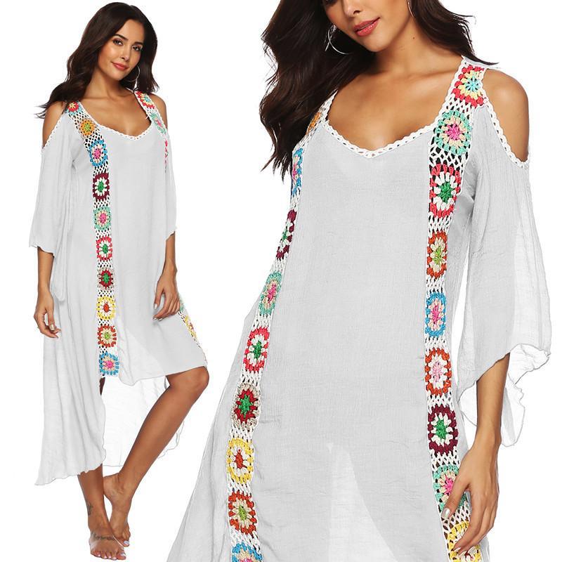 bf0bbcff4c 2019 Plus Size Beach Dress Long Cover Up Swimsuit Bikini Women Ups Large  White Bathing Suit Swim Wear Beachwear Crochet Flower 2019 Y19042401 From  ...