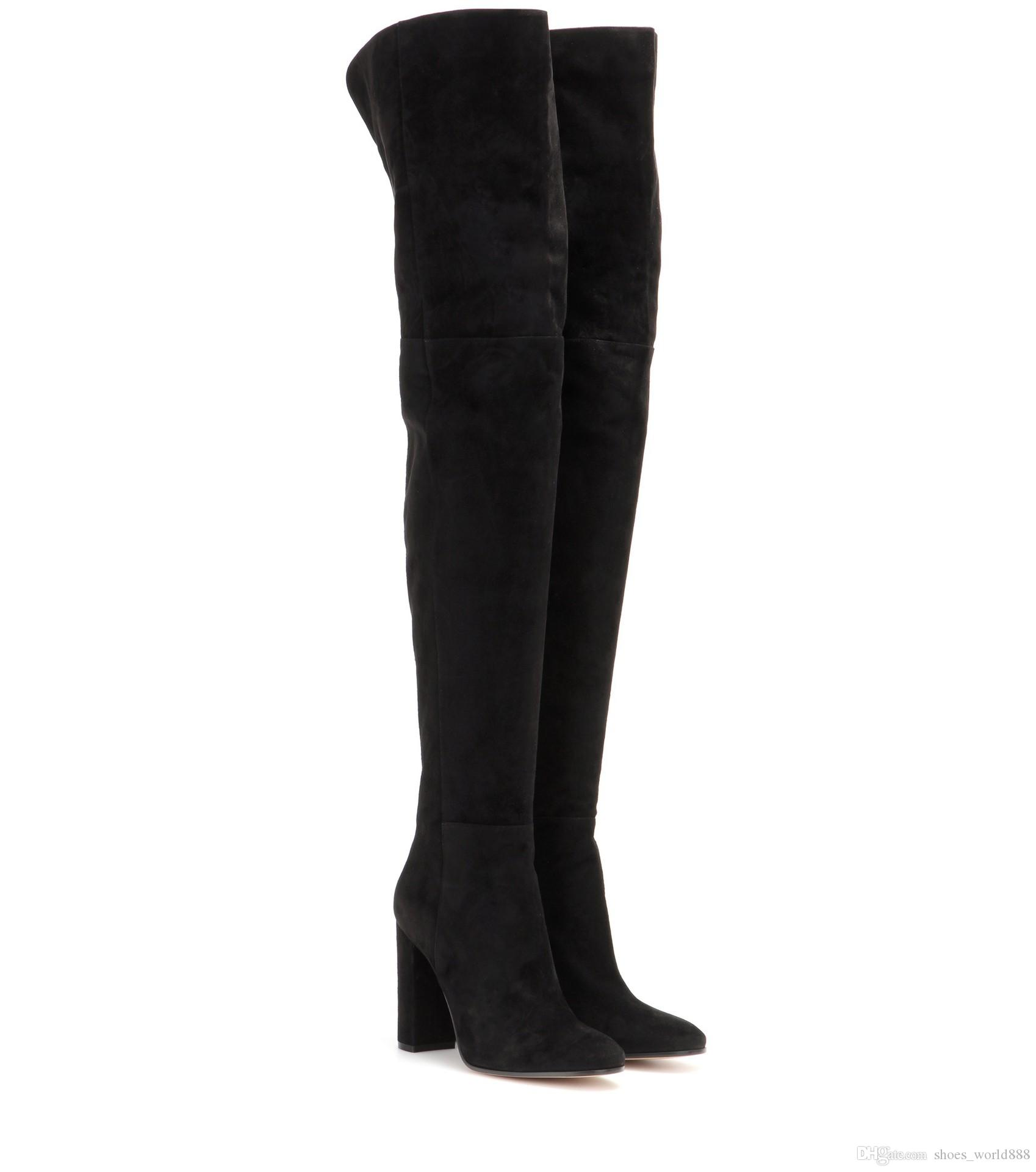 c3ff9cfe2 2019 Designer Womens Boots Black Velvet Suede Thigh-High Boots Fashion  Large Size Round Head High Heel Over Knee Boots