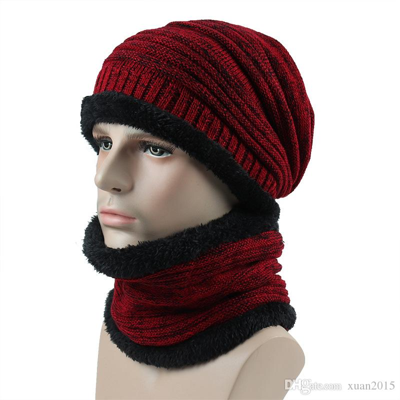 311b77cccc0 2019 Winter Men S Hat Scarf Set Knitted Striped Beanies Winter Men S Knit  Cotton Caps Warm Andco Mfortable Skull Cap Beanie Boo From Xuan2015
