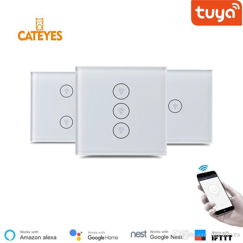 High quality Glass panel wall switch wifi smart Tuya App touch control EU 1  2 3 gang home electronics ifttt google compatible
