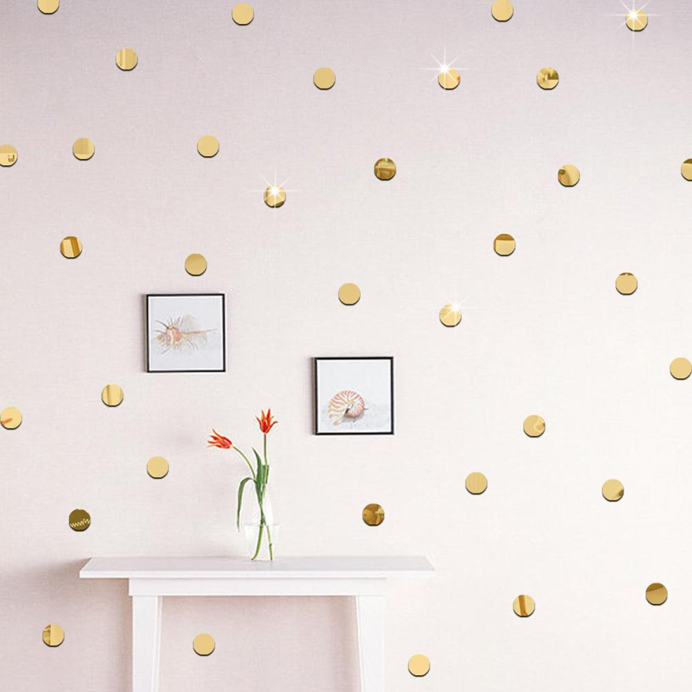 2cm Office Art PVC Wall Decal Home Decoration 3D DIY Home Decor Silver gold Circles Mirror Acrylic Wall Stickers