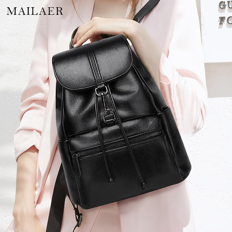 605f10338e MAILAER New Travel Backpack Korean Women Female Rucksack Leisure Student  School Bag Soft PU Leather Women Bag Cheap Backpacks Rolling Backpack From  Singgirl ...