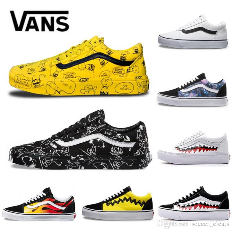 a6ae8d04d43a 2019 2019 Vans Old Skool Men Women Casual Shoes Rock Flame Yacht Club  Sharktooth Peanuts Skateboard Mens Canvas Outdoor Sports Sneakers From  Soccer cleats