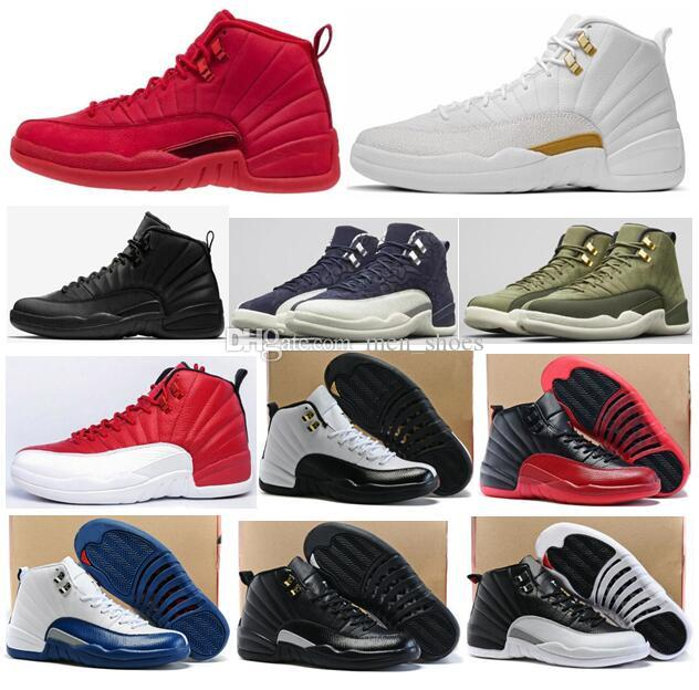 High Quality 12 12s OVO Gym Red Bulls WNTR Master Basketball Shoes Men Taxi Flu Game French Blue Olive Canvas Sneakers With Box