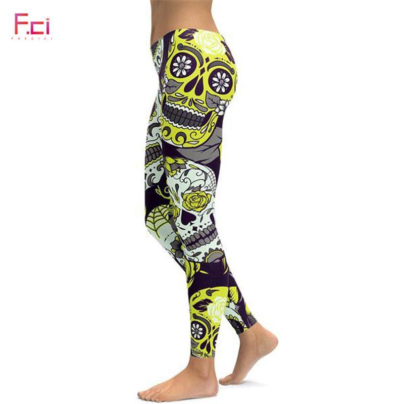 bfc11bcd2439c 2019 2019 3D Printed Sugar Skull Leggings Women Plus Size Leggings Workout  Casual High Waist Slim Pants S~4XL Plus Size From Qyzs001, $13.5 |  DHgate.Com