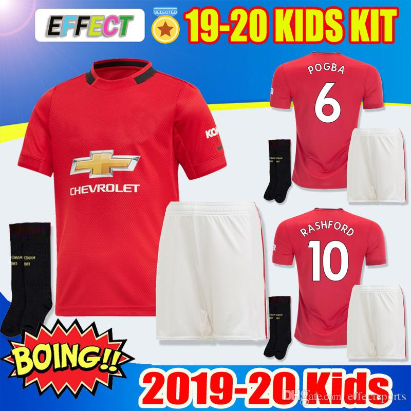 81c5e7267 2019 New 19 20 Pogba Alexis Kids Kit Lukaku Soccer Jerseys Home 2019 2020  Man RASHFORD LINGARD United Football Shirts Kits Jersey With Socks Sets  From ...