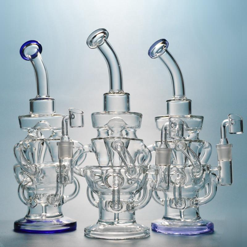 Tornado Recycler Bong Oil Dab Rigs Showerhead Percolator Glass Bongs Water Pipes 14mm Joint