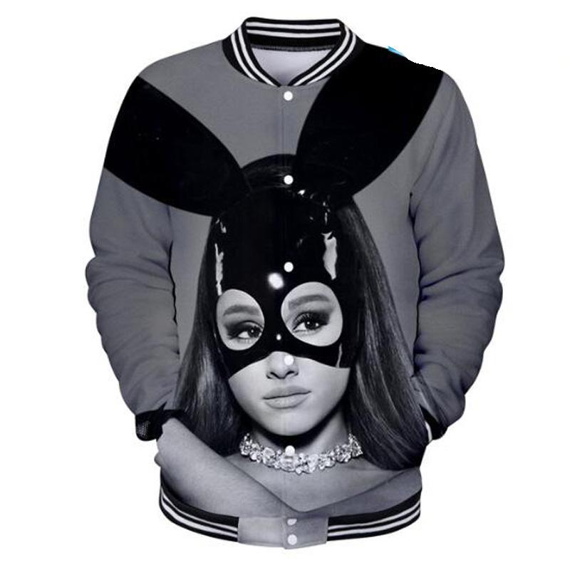 Compre Ariana Grande Chaqueta De Uniforme De Béisbol De Mujer Peligrosa Hombres  Mujeres Harajuku Sudaderas Moda De Invierno Hip Hop Divertido Sudadera 3D A  ... 4ba44f01a45