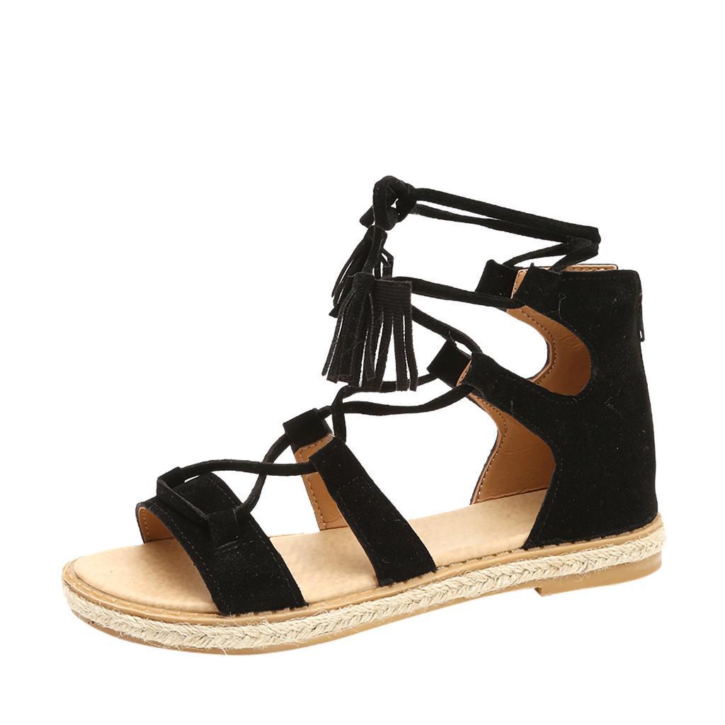 2f37b44f6cf19 2019 Summer Shoes Retro Slippers Leather Women Sandals Tassel Peep Toe  Lace-Up Flats Shoe Ladies Vintage Roman Sandals Girls